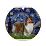 Starry / Sheltie (s&w) Ornament (Round)