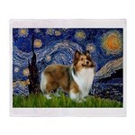 Starry / Sheltie (s&w) Throw Blanket