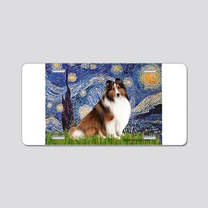 Starry Night / Sheltie (s&w) Aluminum License Plat
