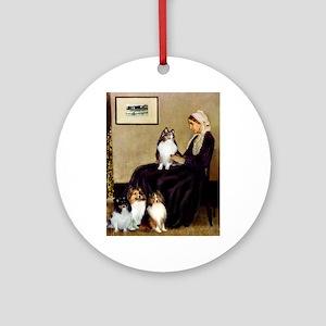 Whistler's / 3 Shelties Ornament (Round)
