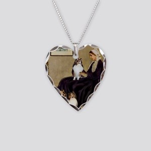 Whistler's / 3 Shelties Necklace Heart Charm