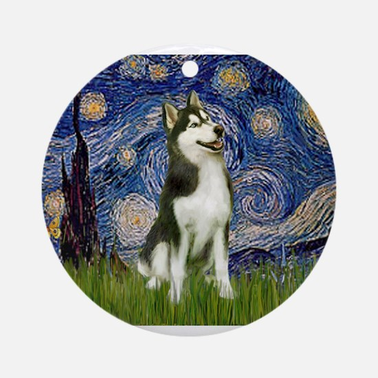 Starry Night & Husky Ornament (Round)