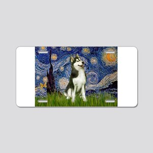 Starry Night & Husky Aluminum License Plate