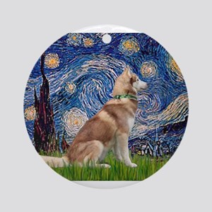 Starry Night & Red Hssky Ornament (Round)