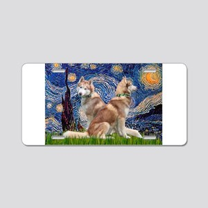 Starry Night Red Husky Pair Aluminum License Plate