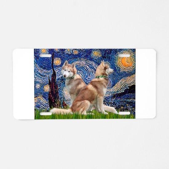Starry Night Red Husky Pair Aluminum License Plate