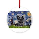 Starry / Black Skye Terrier Ornament (Round)
