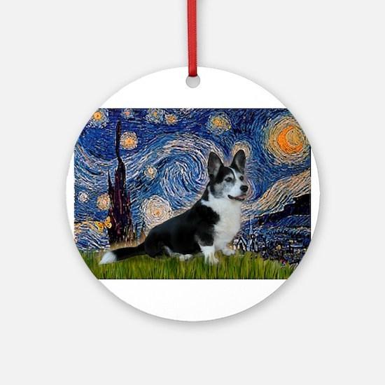 Starry Night / Welsh Corgi(bi Ornament (Round)