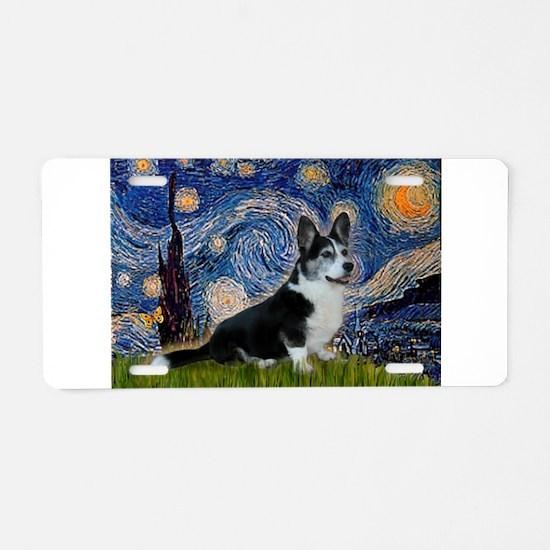 Starry Night / Welsh Corgi(bi Aluminum License Pla