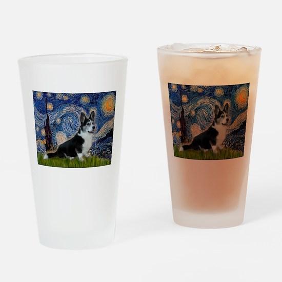 Starry Night / Welsh Corgi(bi Drinking Glass