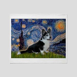 Starry Night / Welsh Corgi(bi Throw Blanket