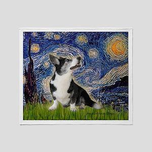 Starry Night / Welsh Corgi Throw Blanket