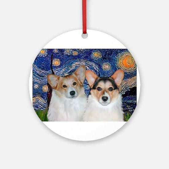 Starry Night / Corgi pair Ornament (Round)
