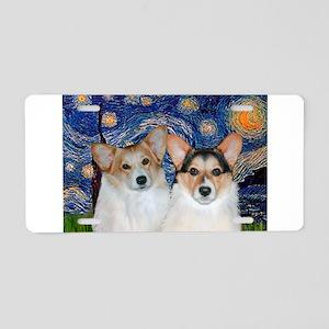 Starry Night / Corgi pair Aluminum License Plate