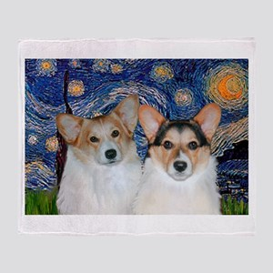 Starry Night / Corgi pair Throw Blanket