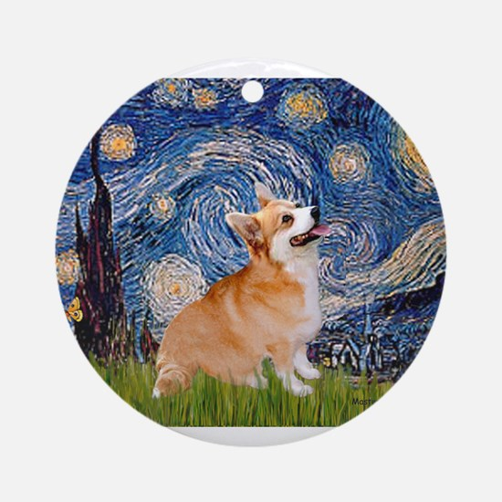 Starry Night Corgi Ornament (Round)