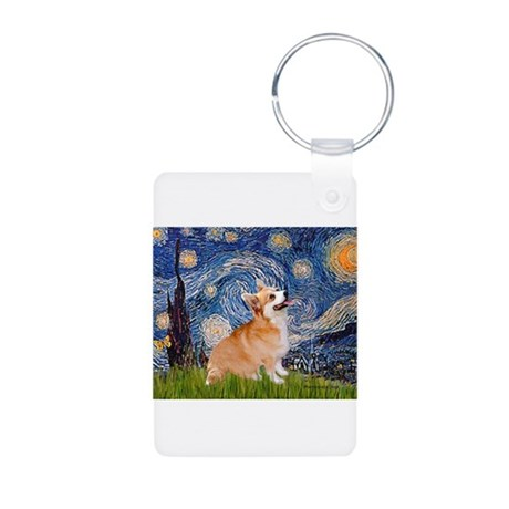Starry Night Corgi Aluminum Photo Keychain