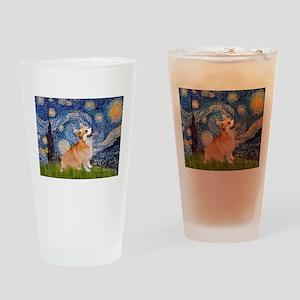 Starry Night Corgi Drinking Glass