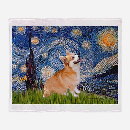Starry Night Corgi Throw Blanket