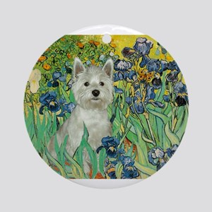 Irises / Westie Ornament (Round)