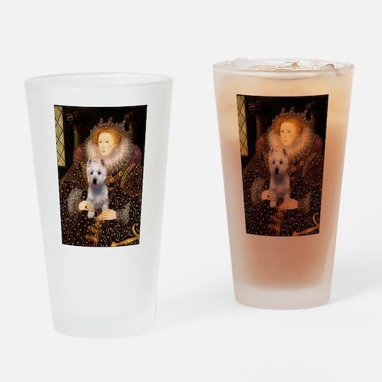 Queen Liz & Her Westie Drinking Glass