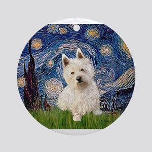 Starry Night/Westie Ornament (Round)