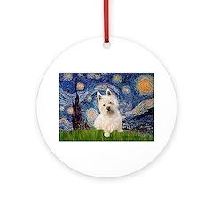 Starry Night/Westie Ornament (Round)
