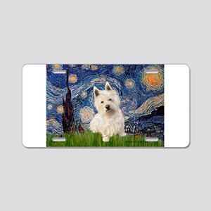 Starry Night/Westie Aluminum License Plate