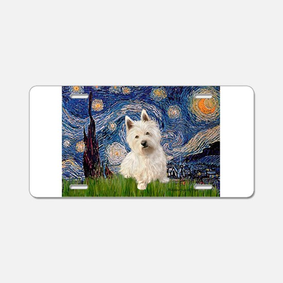 Starry Night/Westie Aluminum License Plate