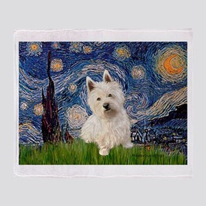 Starry Night/Westie Throw Blanket