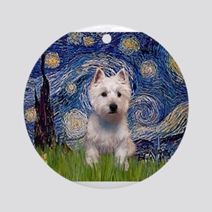 Starry - Westie (P) Ornament (Round)