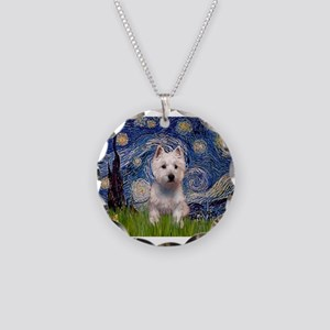 Starry - Westie (P) Necklace Circle Charm