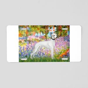 Whippet in Monet's Garden Aluminum License Plate