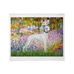 Whippet in Monet's Garden Throw Blanket