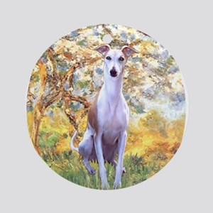 Spring / Whippet Ornament (Round)