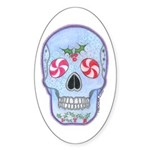 Christmas Skull Sticker (Oval 10 pk)