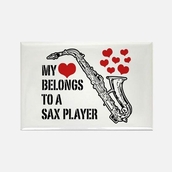 My Heart Belongs To A Sax Player Rectangle Magnet