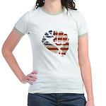American Flag Fist Jr. Ringer T-Shirt