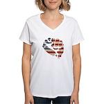 American Flag Fist Women's V-Neck T-Shirt