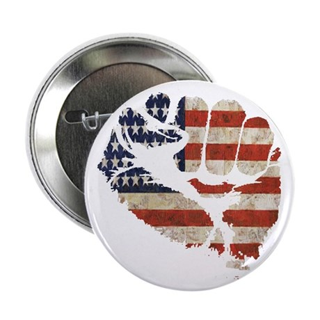 """American Flag Fist 2.25"""" Button (10 pack)"""