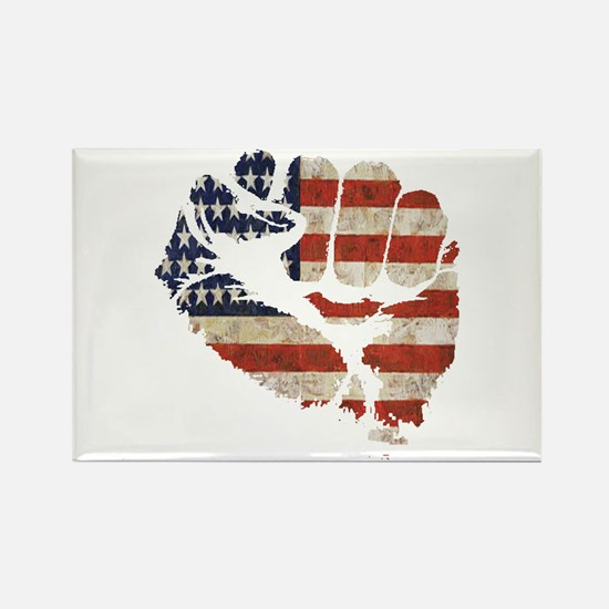 American Flag Fist Rectangle Magnet