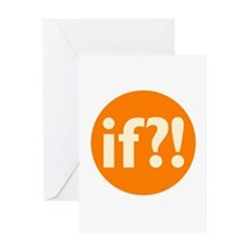 if?! orange/white Greeting Card