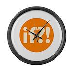 if?! orange/white Large Wall Clock