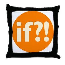 if?! orange/white Throw Pillow