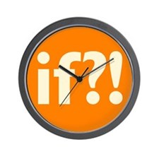 if?! orange/white Wall Clock