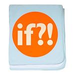 if?! orange/white baby blanket