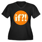 if?! orange/white Women's Plus Size V-Neck Dark T-