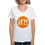 if?! orange/white Women's V-Neck T-Shirt