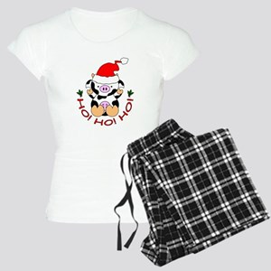 Cartoon Cow Santa Women's Light Pajamas