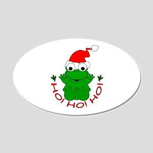 Cartoon Frog Santa 22x14 Oval Wall Peel